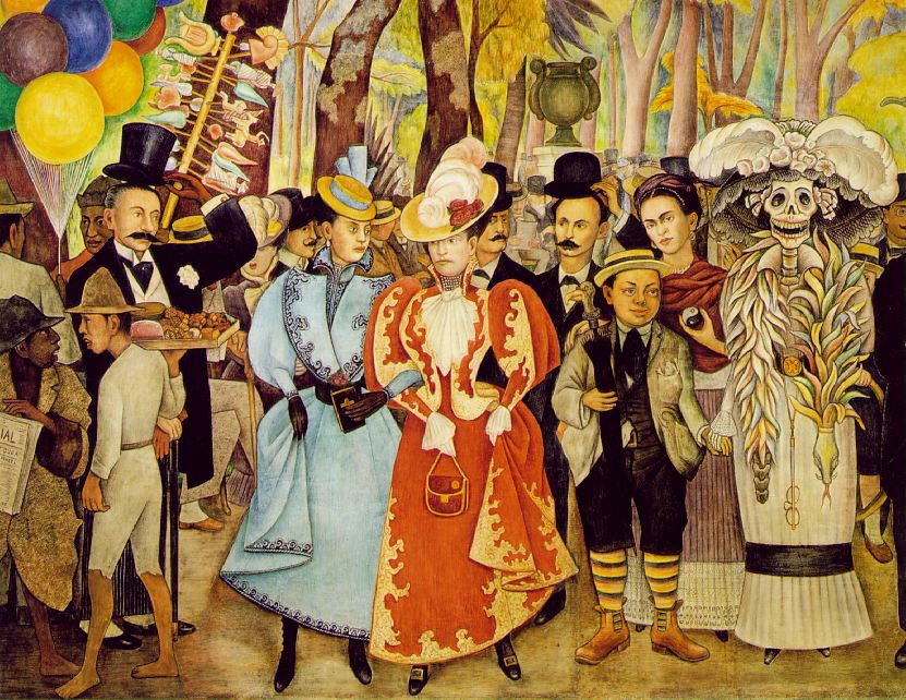 Colescott the genealogy of style for Diego rivera day of the dead mural
