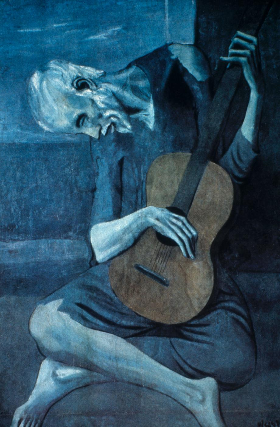 picassos old guitarist Pablo picasso, a passionate spanish artist, created the famous painting, the old  guitarist, in madrid in1903 the old guitarist is an example of.